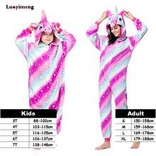Купить с кэшбэком New Style Unicorn Kigurumi Onesie Adult Pajamas Women Warm Soft Pikachu Sleepwear Winter Jumpsuit Pijama Cosplay Family Costumes
