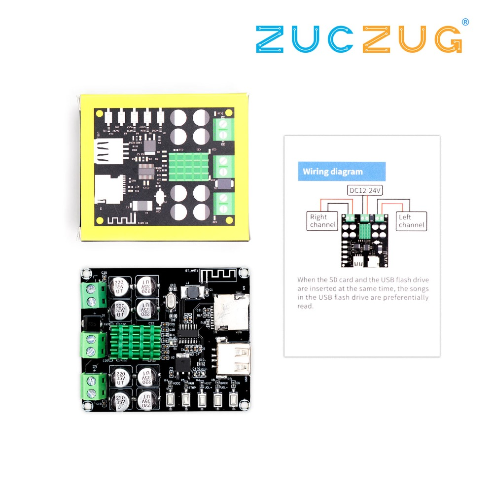 VHM-302 DC12-24V TPA3116D2 50 W + 50 W Bluetooth 4,0 amplificador con Bluetooth U disco TF jugador VHM-302
