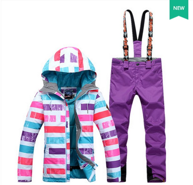 Dámský fialový lyžařský oblek ženský skateboarding - Sportovní oblečení a doplňky