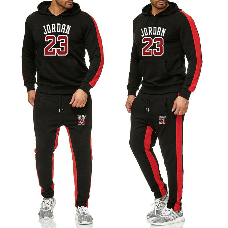 New 2019 Brand Tracksuit classic Men Sportswear Two Piece Sets All Cotton Fleece Thick hoodie+Pants Sporting Suit Male