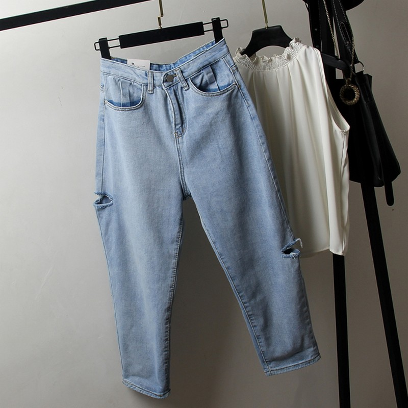 L-4XL Spring Summer Plus Size Jeans Woman Fashion Casual Hole Denim Pants Female Korean Vintage Ankle-length Harem Jeans Women(China)