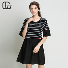 Summer Women Casual Plus Size Dresses Striped Patchwork Black Elegant For Lady Flare Sleeve Dress A