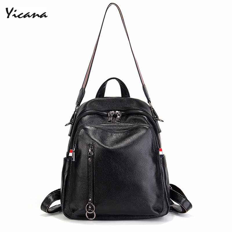 Yicana 2018 Spring/Summer New style 100% Genuine Leather Fashion Woman backpack Litchi Grain Both Shoulders bags 2017 spring and summer new women genuine leather handbags fashion litchi grain first layer of leather bags female shoulder bags