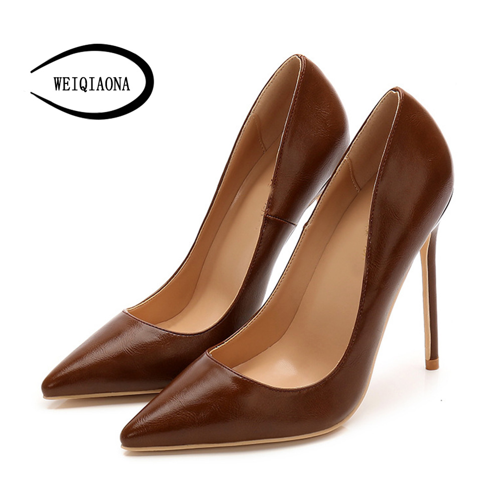 WEIQIAONA 2018 Women Shoes New 2018 Genuine Leather High Heel Pointed Toe Ladies Shoes Wedding Shoes Brand Design Big Size 34-43WEIQIAONA 2018 Women Shoes New 2018 Genuine Leather High Heel Pointed Toe Ladies Shoes Wedding Shoes Brand Design Big Size 34-43