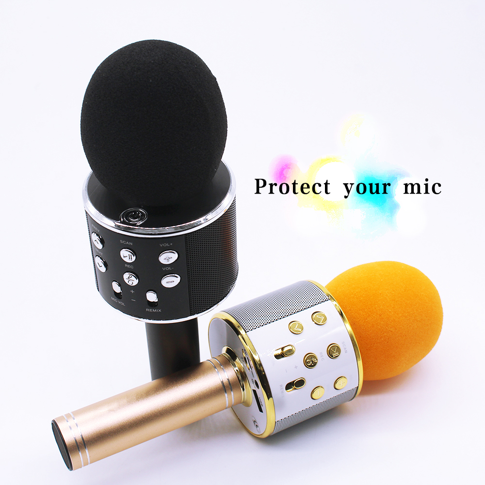 WS858 BluetoothWireless Karaoke Microphone AUX Line/ Micro USB Charging Line / Foam Microphone Covers/ Microphone Case Box