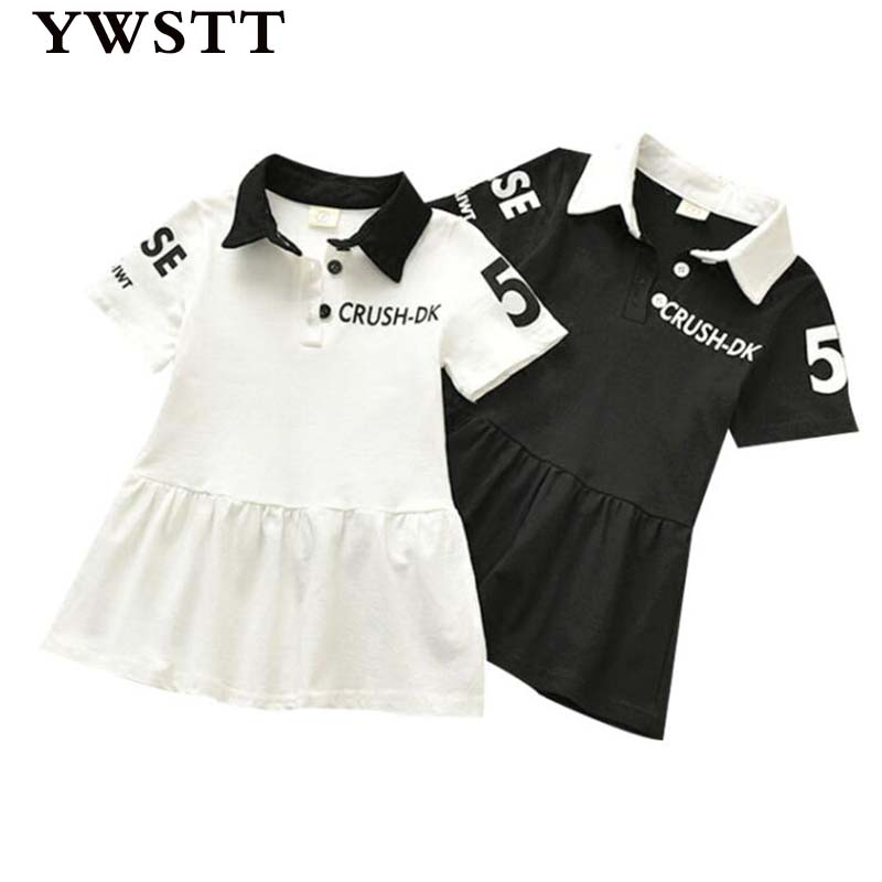 Girls  Sports Dress 2018 New  Summer Baby Teenis Dress GirlsComfortable Letters Casual Sports Dress Kids Polo Dress