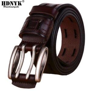 Image 1 - 100% Hohe Qualität Echtes Leder Gürtel für Männer Marke Strap Männlichen Pin Schnalle Phantasie Vintage Jeans Cowboy Cintos