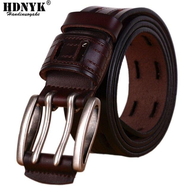 Ceintures en cuir véritable pour hommes, sangle de marque avec boucle ardillon, fantaisie, Vintage, Jeans de Cowboy, 100%