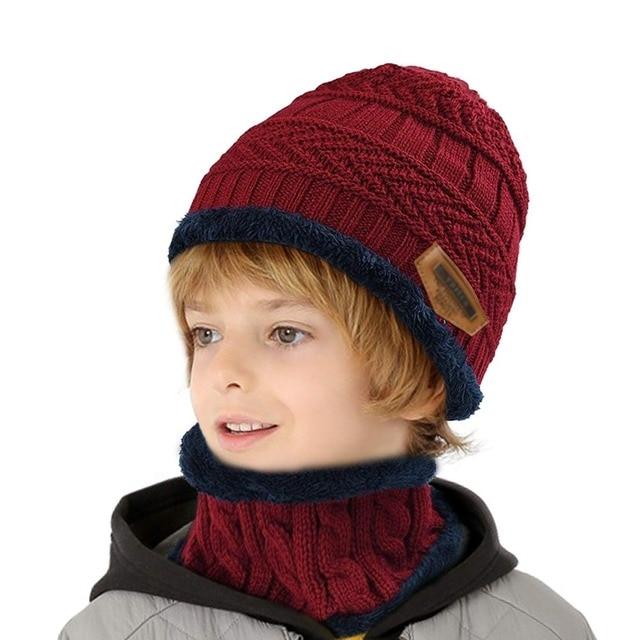 2018 New 2Pc Set Kids Winter Knitted Hats Bonnet Ski Beanies+Scarf Set Warm 6856155c0052