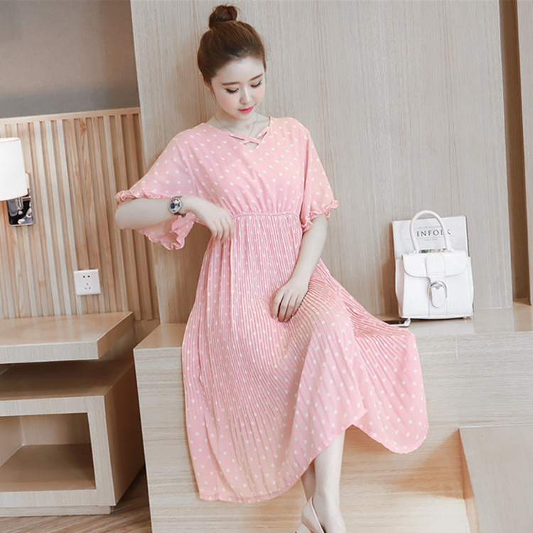 Smmoloa maternity home dress half sleeve maternity clothes for Modern house dress