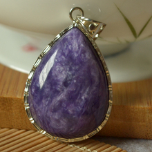 Luo Shi pendant necklace sweater autumn female models Authentic natural purple dragonshard pendants large droplets