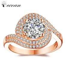 Tocean Rose Gold Color Wedding Rings for Women Round Cute AAA Zircon Engagement Femme Cubic Handsome Bijoux Bague Size 5-12 W003 luxury cubic flower novel star cute rose gold color wedding rings for women green aaa zircon engagement bijoux bague size 6 10