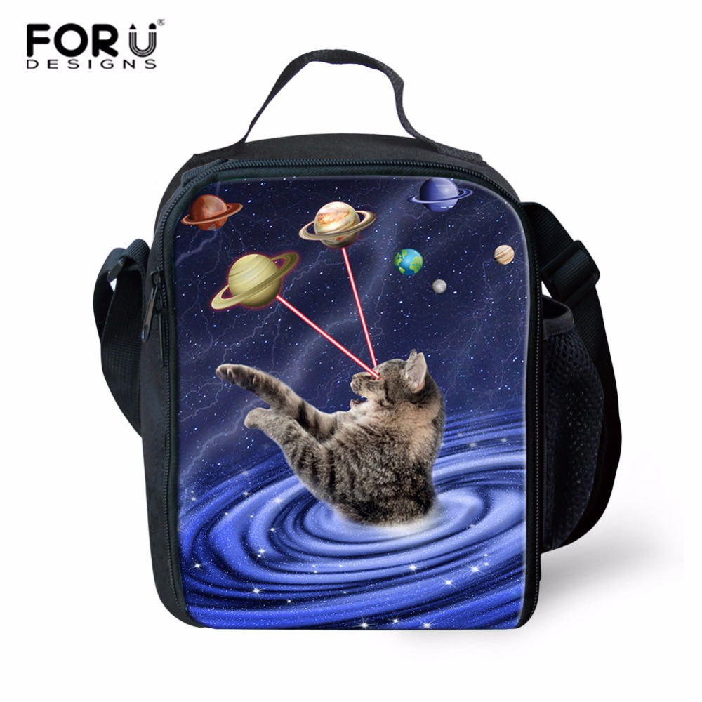 FORUDESIGNS Galaxy Cat Print Insulated Lunch Bag Thermal Tote Bags Picnic Food Lunch box bag for Women Girls Ladies Kids 2018