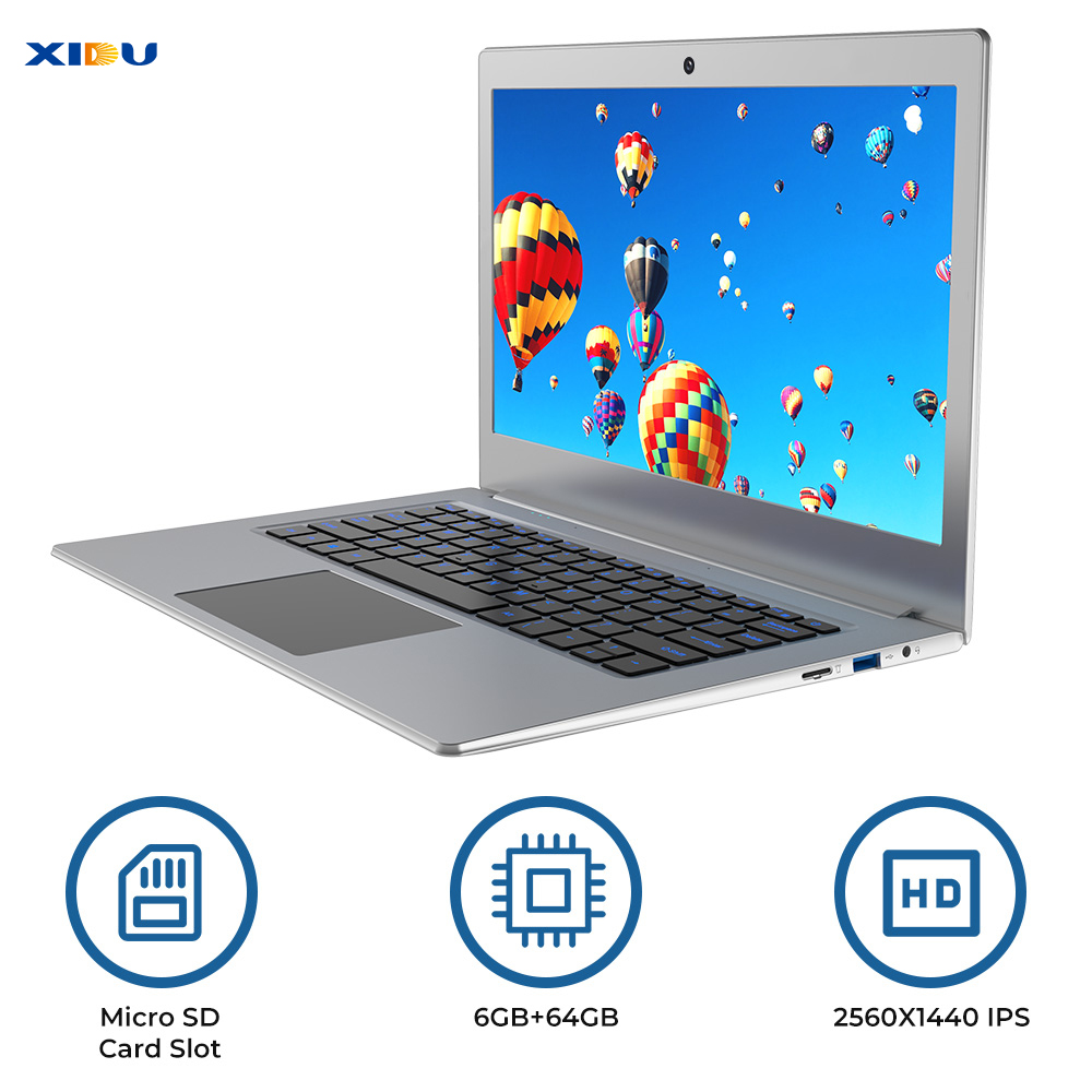 "XIDU 12.5"" Windows 10 Laptop 2560x1440 IPS Display 6GB Intel Celeron N3450 Notebook 2.4G/5G WiFi with 128GB Micro SD Slot-in Laptops from Computer & Office"