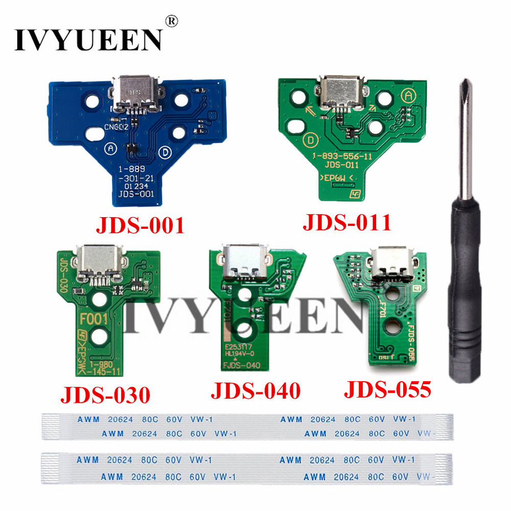 IVYUEEN für <font><b>Playstation</b></font> <font><b>4</b></font> PS4 Pro Slim-Controller Lade Buchse Port Circuit Board Mit <font><b>12</b></font> 14 <font><b>pin</b></font> Power Flex Band kabel image