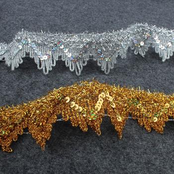 14 jardów złoto srebro poliester taśma koronkowa wykończenia na występ na scenie Party DIY szycie odzieży ręcznie materiałów 4cm szerokości tanie i dobre opinie CN (pochodzenie) Dzianiny Poliester bawełna Other Cekiny Ekologiczne Koronki