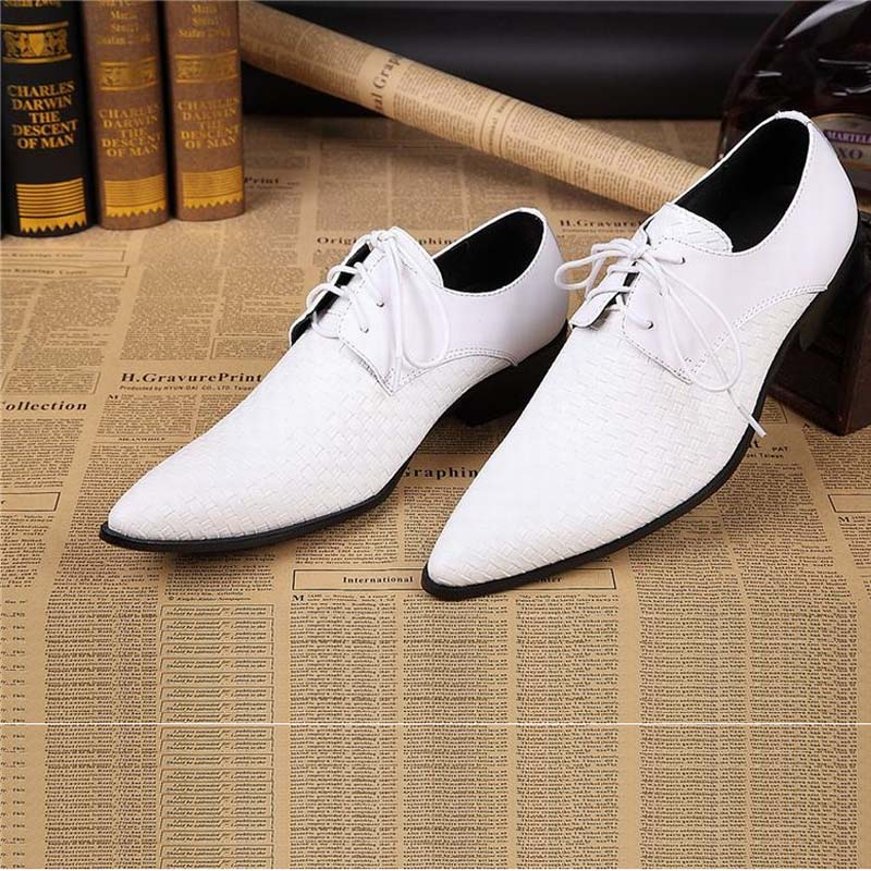 genuine leather mens business shoes for man black white lace up men dress shoes flats pointed toe office party wedding oxfords цена