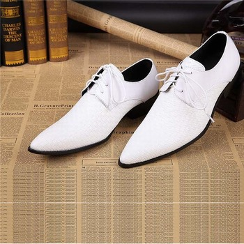genuine leather mens business shoes for man black white lace up men dress shoes flats pointed toe office party wedding oxfords