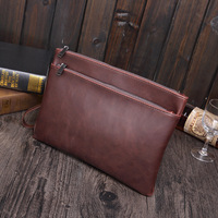 New Men S Crazy Horse PU Leather Fashion Clutch Bag Leisure Bag Business Bag File Package