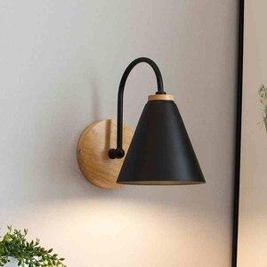 Image 1 - Luces de pared de madera para mesita de noche lámpara de pared para dormitorio, candelabro para cocina, restaurante, lámpara de pared moderna, apliques nórdicos de macarrón