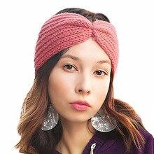 f096f20799b8 Cache-oreilles d hiver tricoté Turban bandeau pour femmes Crochet laine  bandeaux Bandana noeud bandeau bandeau filles accessoire.