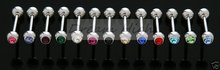 wholesale Crystal Gem Stone Tongue piercing Straight Tongue Bar rings Free Shipping Promotional 14G Mixed Colors Hot Sale