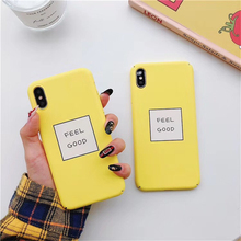 Letters FEEL GOOD Phone Cases For iPhone 8 Slim Cute Candy Color Hard Cover Coque iphone XR 6S 7 8Plus X S MAX  Case