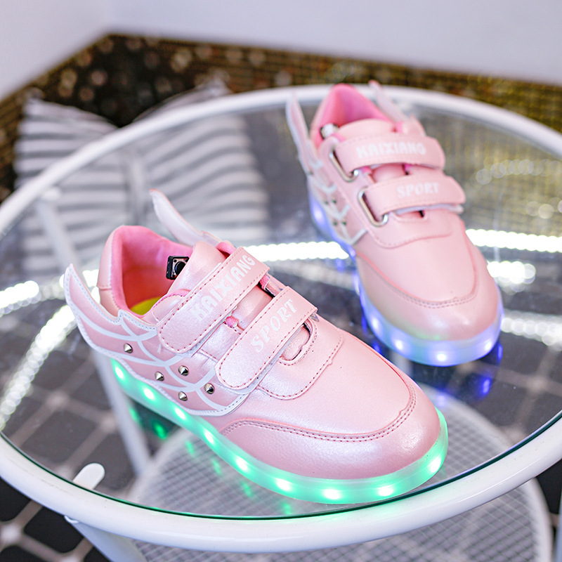 New Children Wings Shoes with Led Light Boy Girls Double Wings USB Charger Fashion Sneakers Kids Luminous Lighted Shoe 7 colors new fashion children usb charging led light shoes kids sneakers fashion luminous lighted boy girl shoes chaussure led enfant