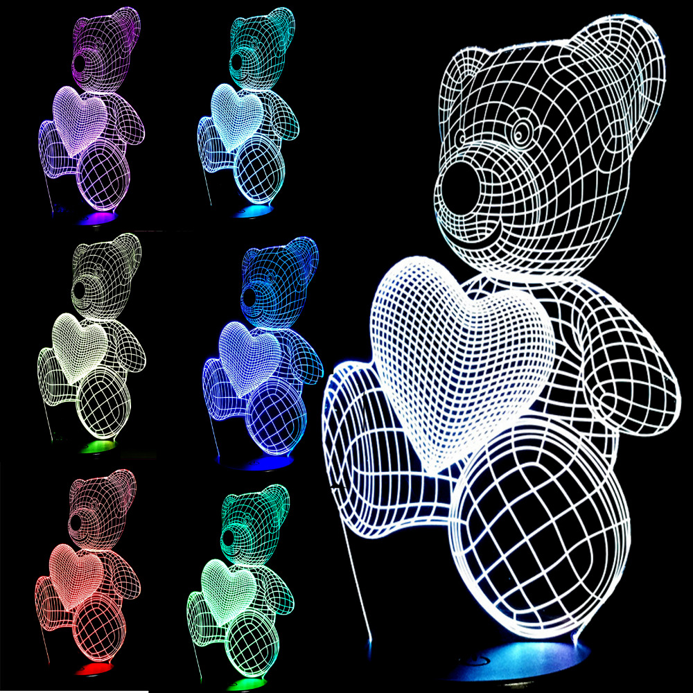 Top Quality Christmas Gifts USB Little Lovely Heart Bear 3D Atmosphere Lamp Girls Baby Bedroom LED