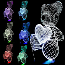Top-Quality Christmas Gifts USB Little Lovely Heart Bear 3D Atmosphere Lamp Girls Baby Bedroom LED Touch Illusion Night Light