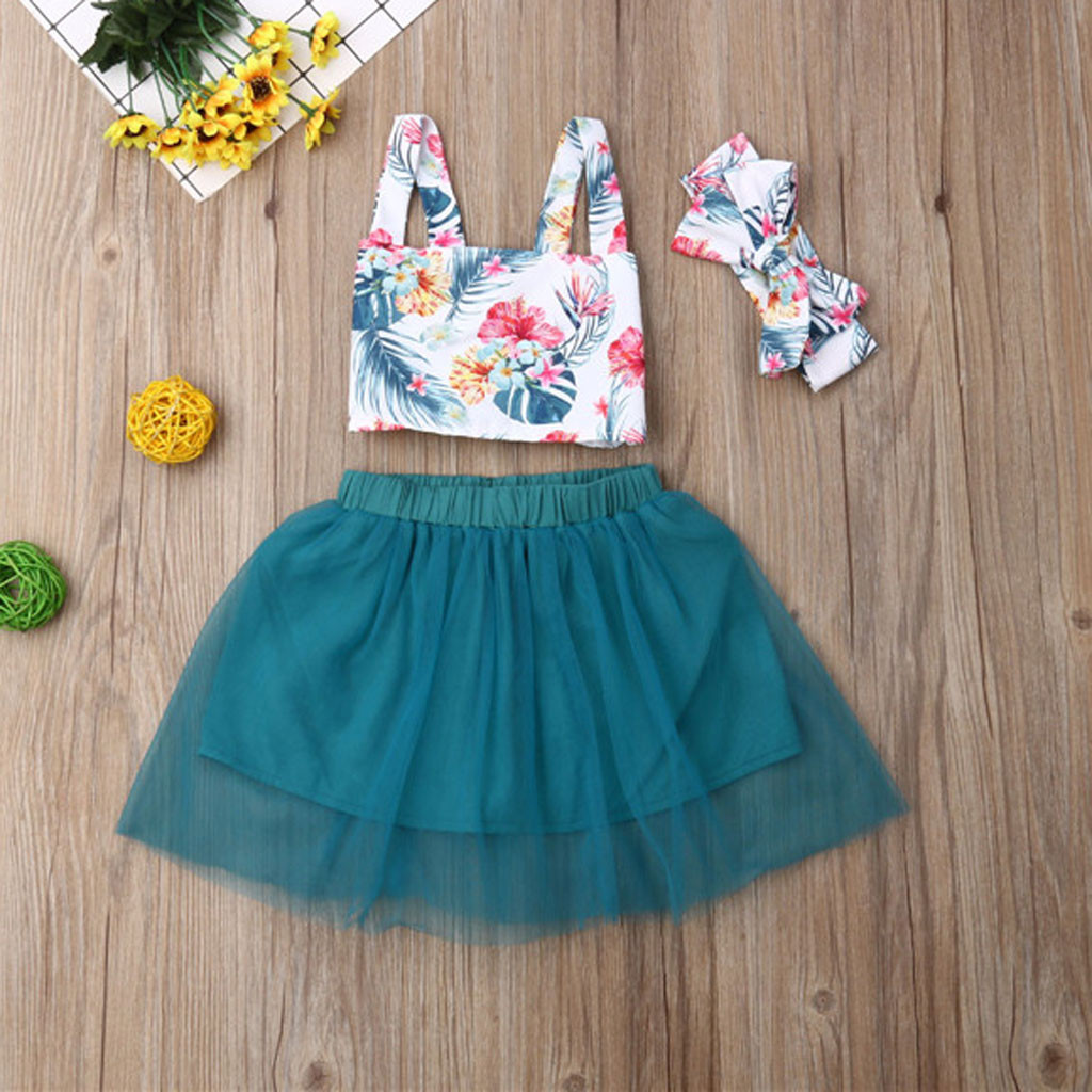 Korean Summer Clothes New Fashion Toddler Kids Baby Girls Outfits Sleeveless Clothes Floral T-shirt Crop Tops Tulle Skirt Set(China)
