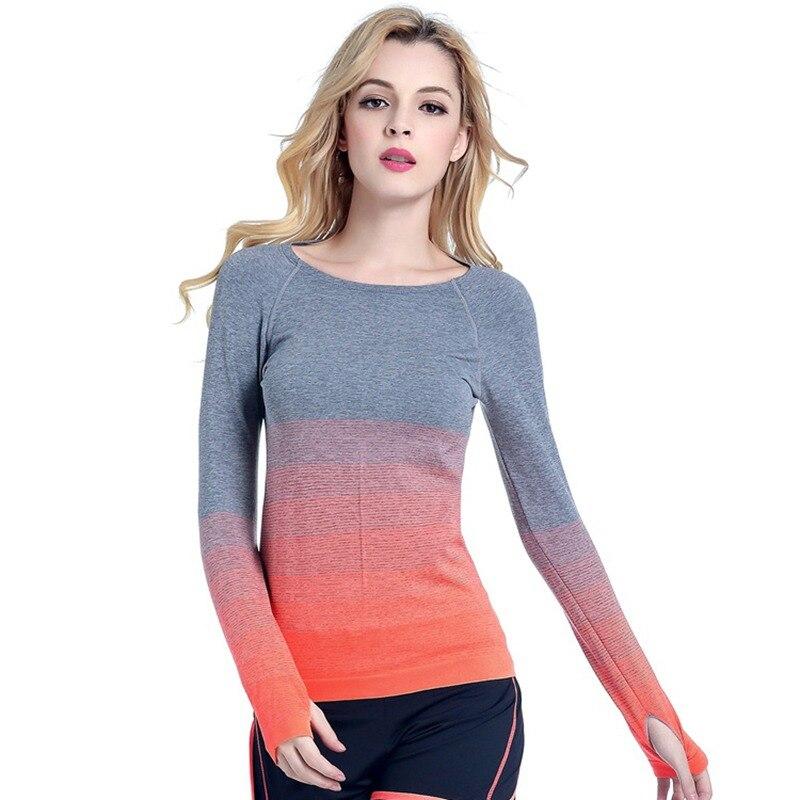 Women Professional Yoga Sport Gradient Color T Shirt Long Sleeves Hygroscopic QuickDry Fitness Elastic T-shirt Women Top Shirts