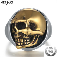 MetJakt Punk Men's Skull Ring Can Move Gold Color Skull Rings Solid 925 Sterling Silver Ring for Cool Biker Men Jewelry(China)