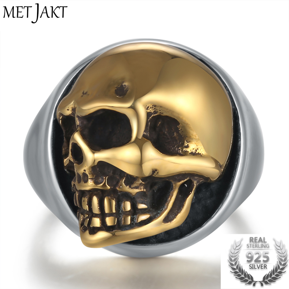 MetJakt Punk Men's Skull Ring Can Move Gold Color Skull Rings Solid 925 Sterling Silver Ring for Cool Biker Men Jewelry