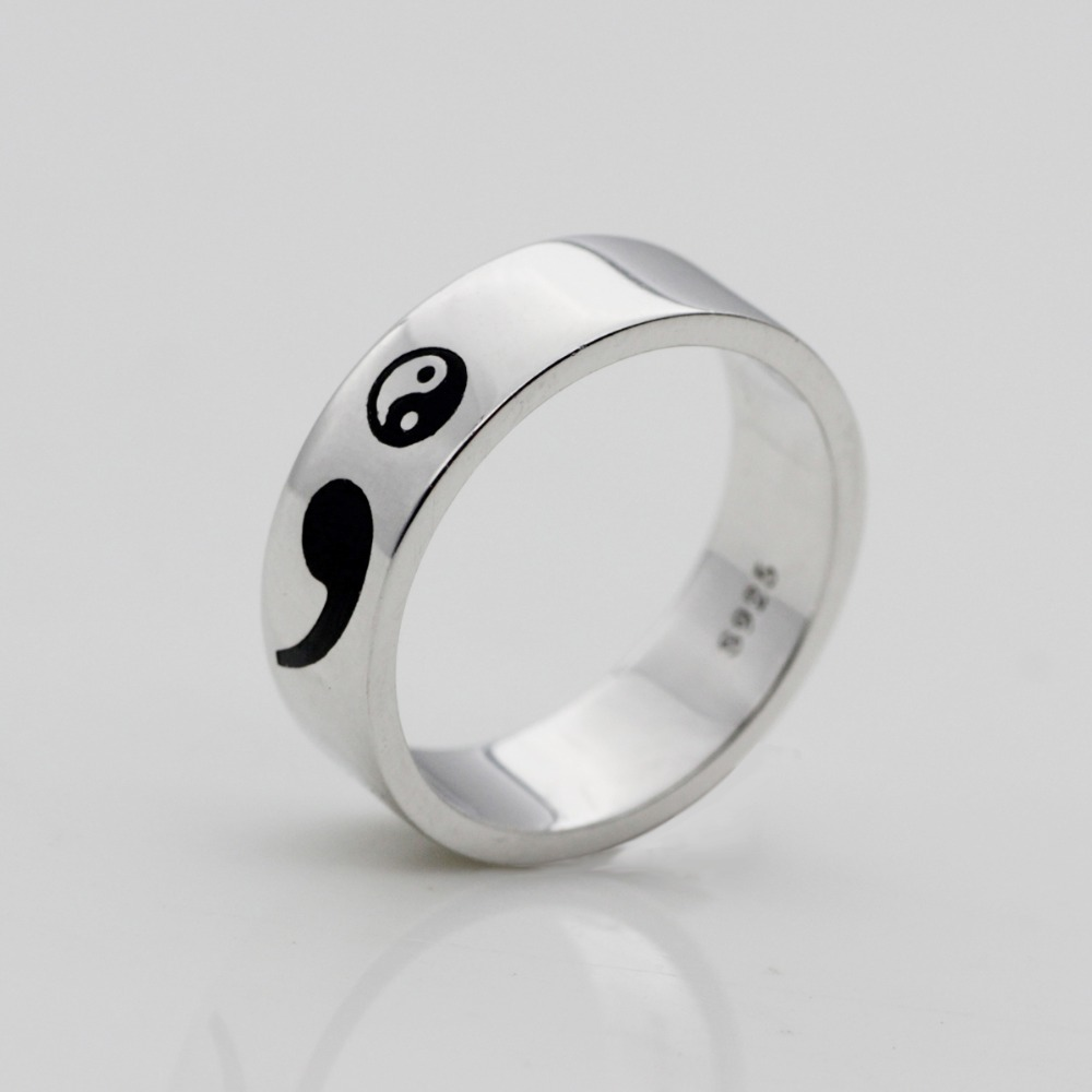 New Semicolon Ring 925 Sterling Silver Rings Inspirational Awareness Yin and Yang Rings Jewelry Drop Shipping YLQ0508
