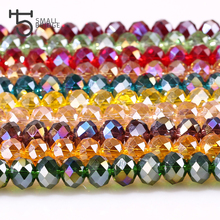 Czech Rondelle Faceted Crystal Glass Bead Jewelry Making Necklace Spacer Loose Beads DIY for Bracelet 4 6 8 mm ab Color Z138