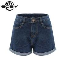 Plus Size High Waist Denim Shorts For Women Casual Blue Cotton Short Jeans 2016 Summer Design Femme Short Trousers 2 Colors