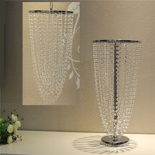 Wedding Flower Rack Crystal Table Centerpieces Candle Holder Haning Ceremony Pavilion Decor Bead Curtain Pendant(China)