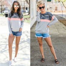 New hot sale camouflage womens T-shirt casual personality stitching female loose leopard long-sleeved shirt