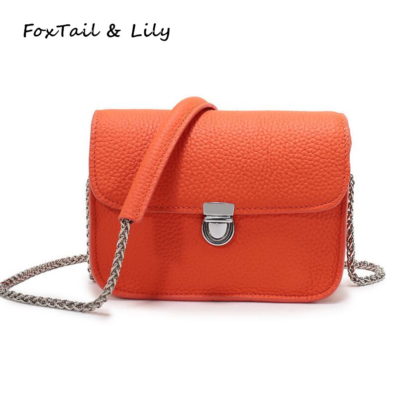 FoxTail & Lily Lock Väikesed klapikottide ketid käekotid ehtne nahast naiste õla risti kottide kotid Fashion Mini Messenger kotid