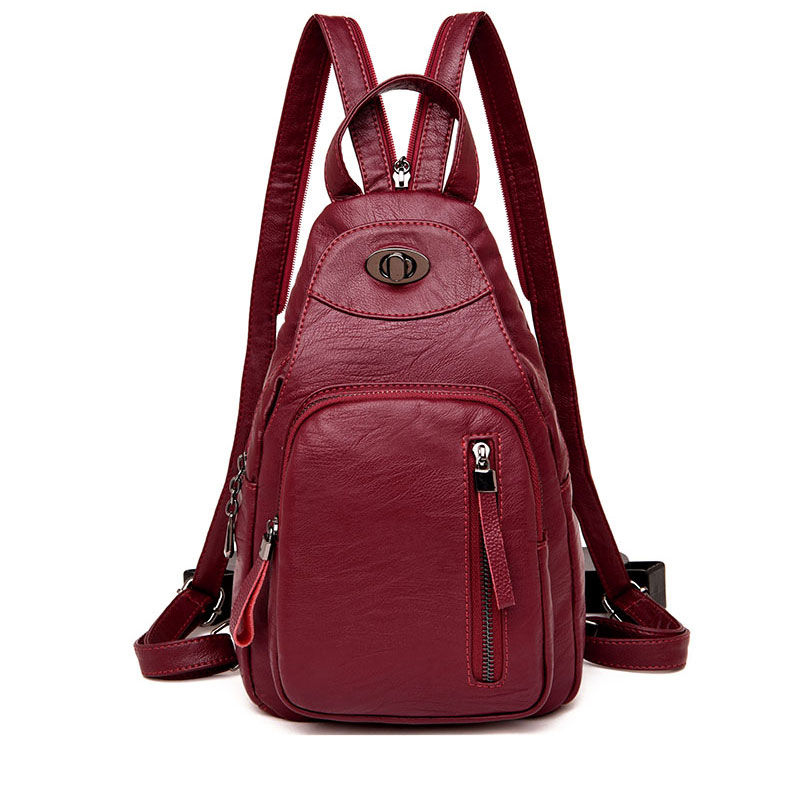 Casual Women Backpack High Quality Leather Chest Bag Female Large Capacity School Shoulder Bags for Girls Travel Backbag Mochila цена