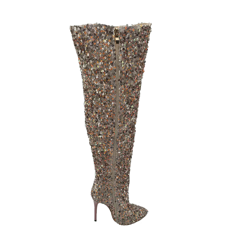 2019 new womens boots change tube round high heel high boots fashion large size sequins womens shoes2019 new womens boots change tube round high heel high boots fashion large size sequins womens shoes