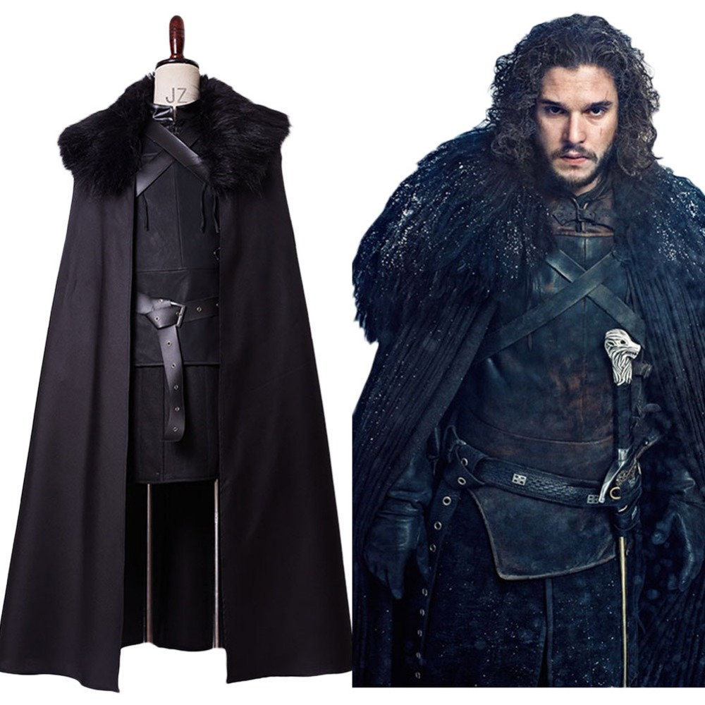 GoT Game of Thrones Cosplay Jon Snow Cosplay Night's Watch Cosplay Costume Outfit Halloween Carnival Costume In Stock Full Set