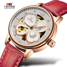 2018 Tevise Brand Mechanical Watches Casual Automatic Watch Women Fashion Ladies Leather Waterproof Clock Gift Relogio Feminino