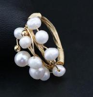 Baroque freshwater pearl multi bead index finger ring female commuting joker lady Baroque rings 925 Sterling Silver wedding