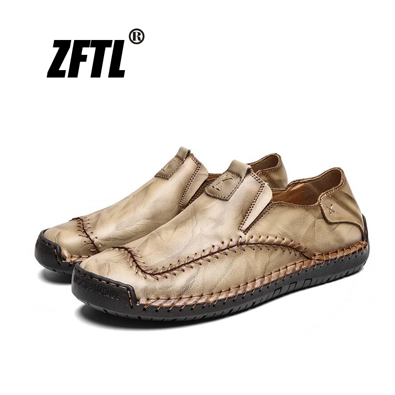 ZFTL New Men Loafers Man Casual Shoes Male Boat Shoes Large Size Genuine Leather 2019 Driving Shoes Leisure Slip-on Shoes  077