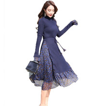 Knitted Chiffon Fake Two Spring Dress Women Vestidos Plus size 2018 New Speaker Sleeve Fashion Long Ladies Dresses Casual Dress