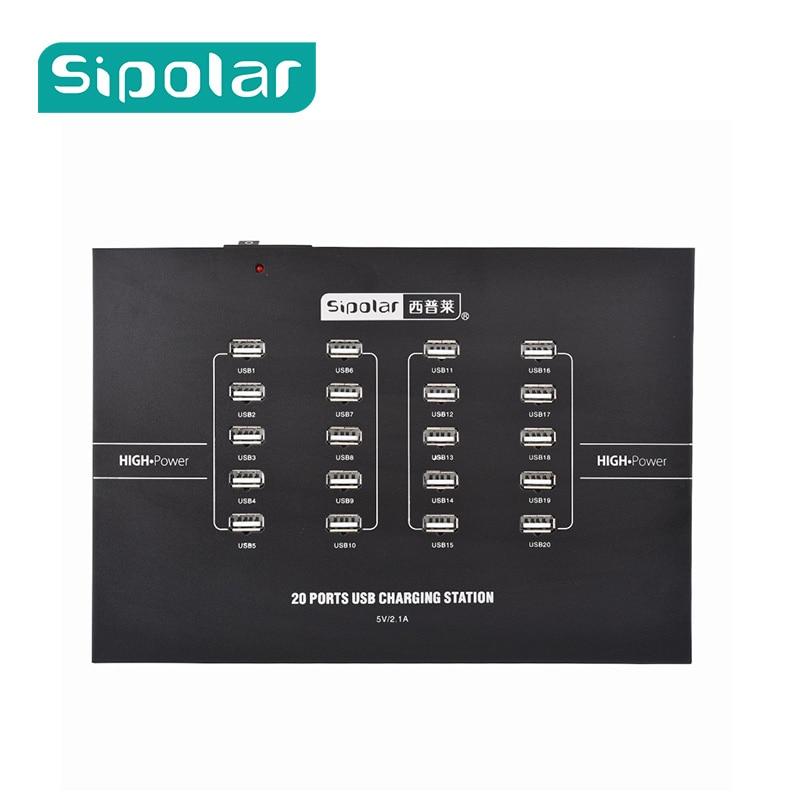 Chargeur de bureau rapide pour téléphone portable Sipolar 20 ports USB pour iPhone 5 SE 6 7For Samsung LG Huawei Xiaomi Mi5