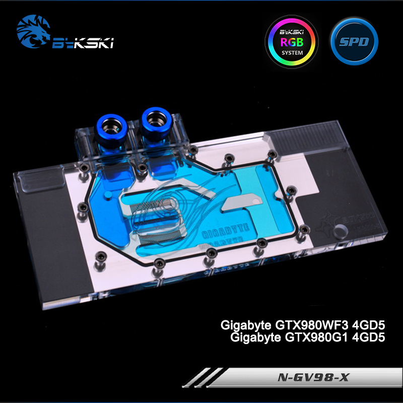 Bykski N-GV98-X Full Cover Graphics Card Water Cooling Block RGB/RBW/ARUA for Gigabyte GTX980WF3/GTX980G1 4GD5 new original graphics card cooling fan for gigabyte gtx770 4gb gv n770oc 4gb 6 heat pipe copper base