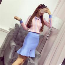 2016 Women Knitting Striped Sweaters Skirts Sets Autumn Winter Long Sleeve Bow Collar Woman Sweater Tops